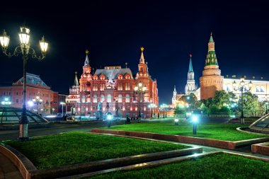 Manezhnaya Square at night in Moscow, Russia