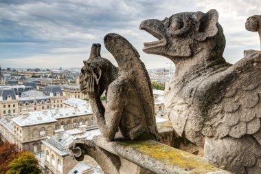 Chimeras of the Cathedral of Notre Dame de Paris overlooking Par