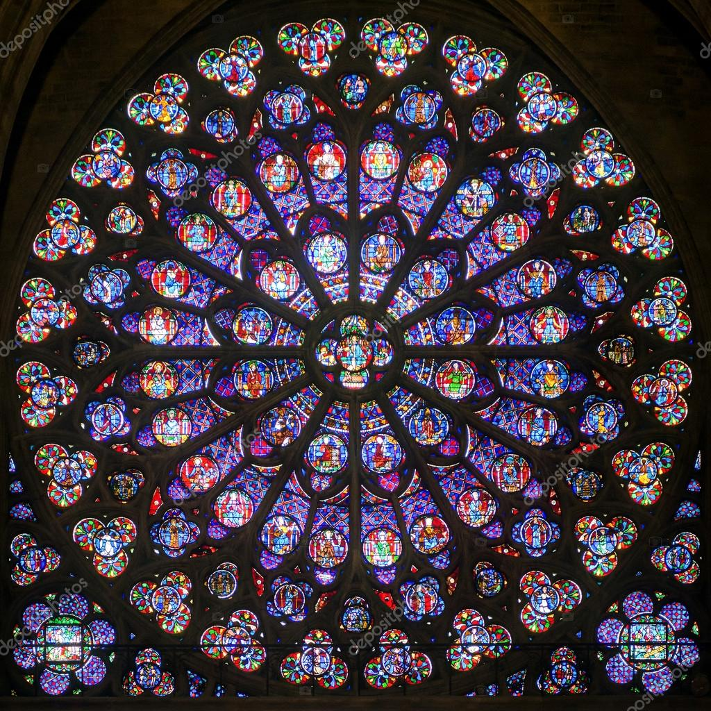 Rose Stained Glass Window In The Cathedral Of Notre Dame De Pari Stock Photo