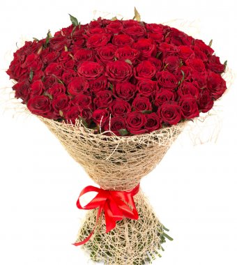 Big bouquet of red roses isolated on white background stock vector