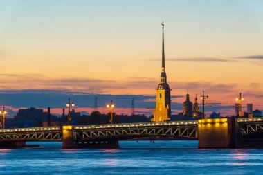 Palace Bridge and Peter and Paul Cathedral in St. Petersburg, Ru