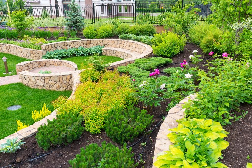 flower garden home natural landscaping in stock photo image