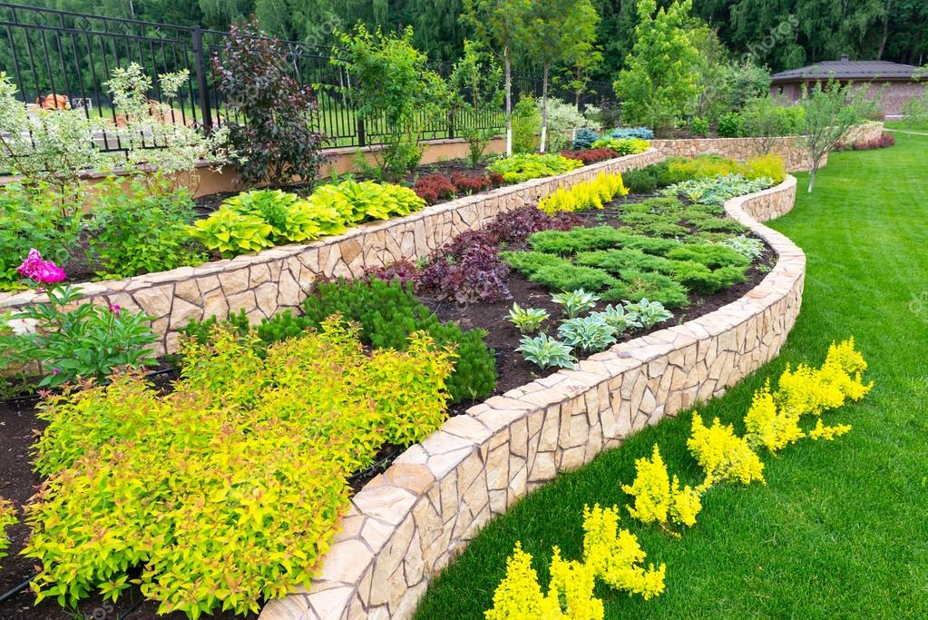 Natural landscaping in home garden