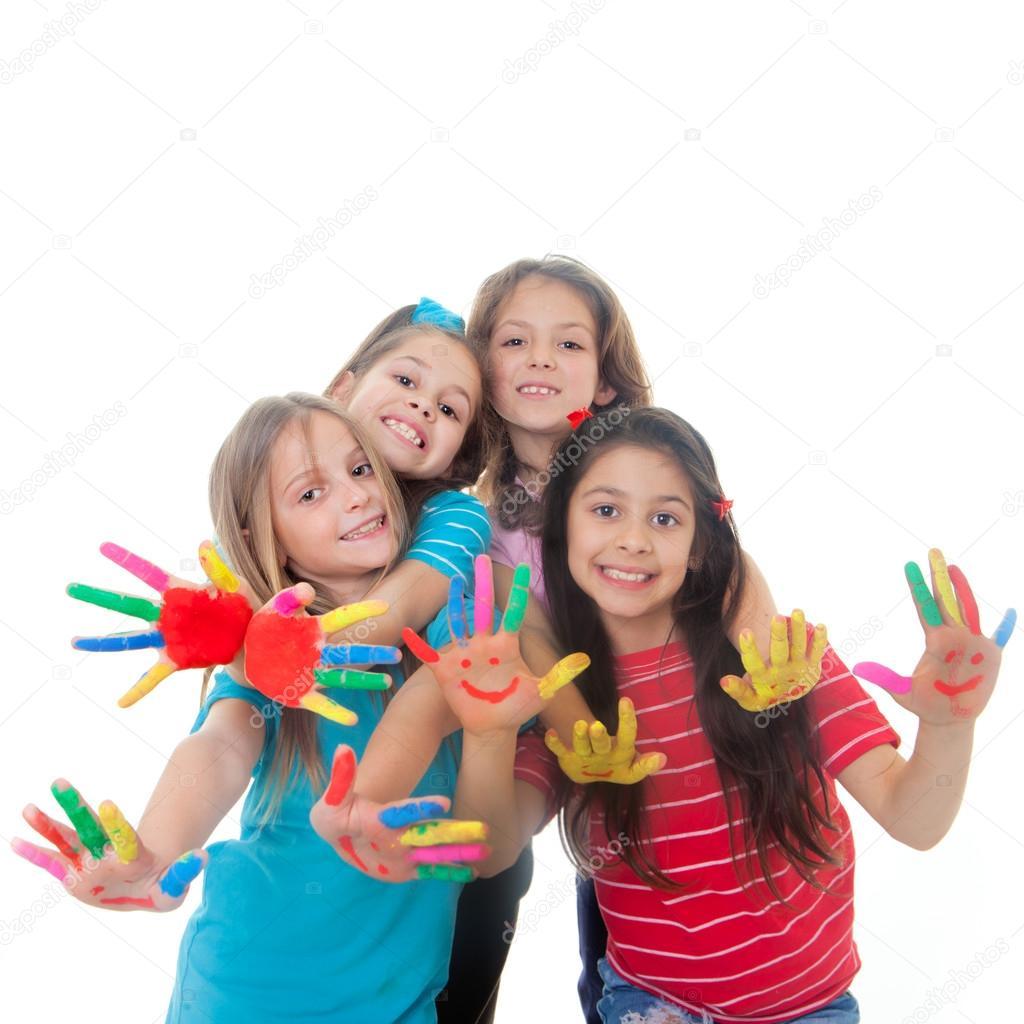 children paint fun