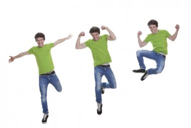 Smiling teen jumping