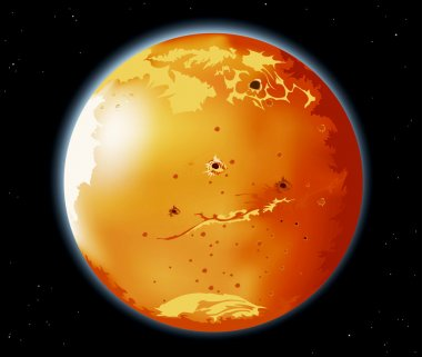 Mars planet in the universe
