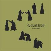 Fényképek illusztráció, férfiak foglalkozó aikido, egy zöld háttér