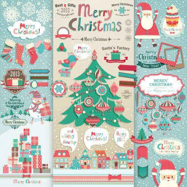Christmas scrapbook elements.