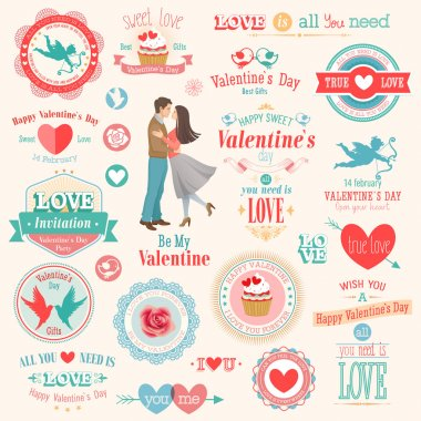 Valentines Day set - labels, emblems and other elements. Vector illustration. clip art vector