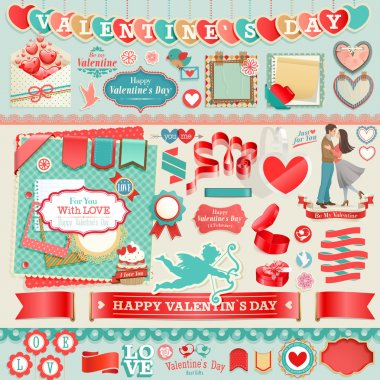 Valentines Day set - vintage design elements and ribbons. clip art vector