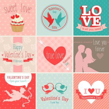 Valentines Day set - greeting cards. Vector illustration. clip art vector