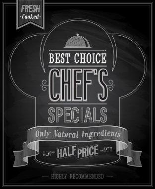 Chefs specials Poster Chalkboard.