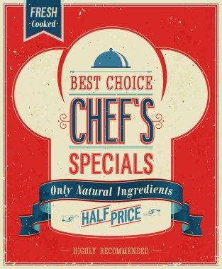 Vintage Chefs specials Poster.