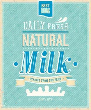 Vintage Milk card. Vector illustration. clip art vector