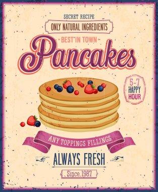 Vintage Pancakes Poster. Vector illustration.