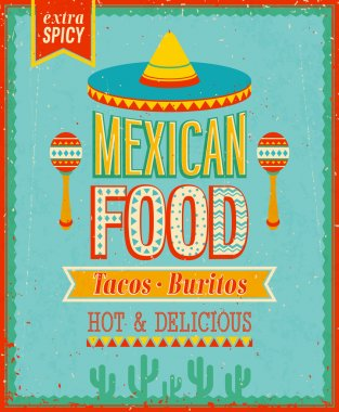 Vintage Mexican Food Poster.