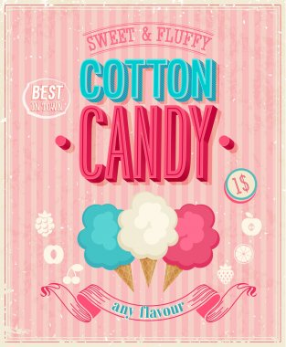 Vintage Cotton Candy Poster. Vector illustration.