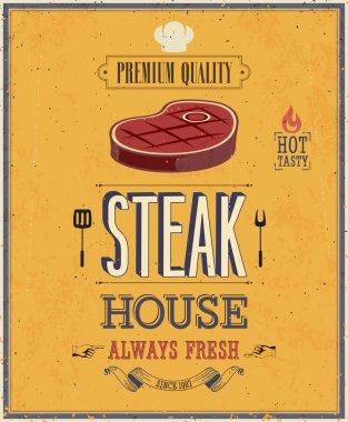 Vintage Steak House Poster.