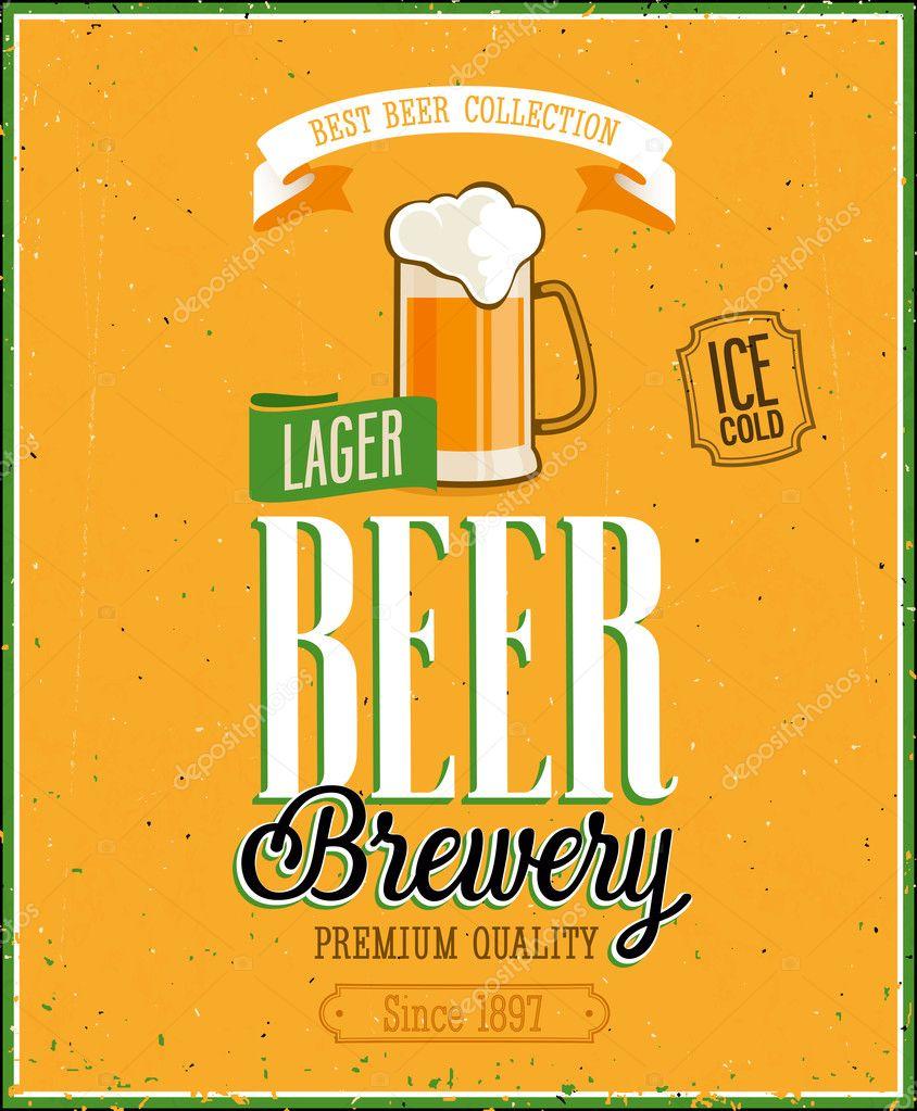 Vintage Beer Brewery Poster.