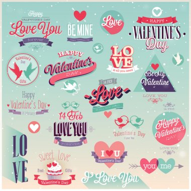 Valentines day set - labels, emblems and other decorative elements. clip art vector