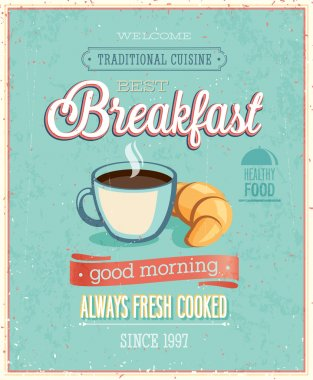 Vintage Breakfast Poster. Vector illustration. stock vector