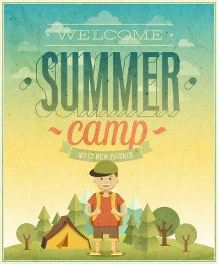 Summer camp poster. Vector illustration. clip art vector