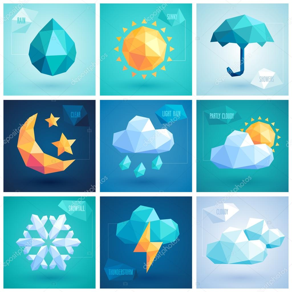 Weather set - geometric icons.