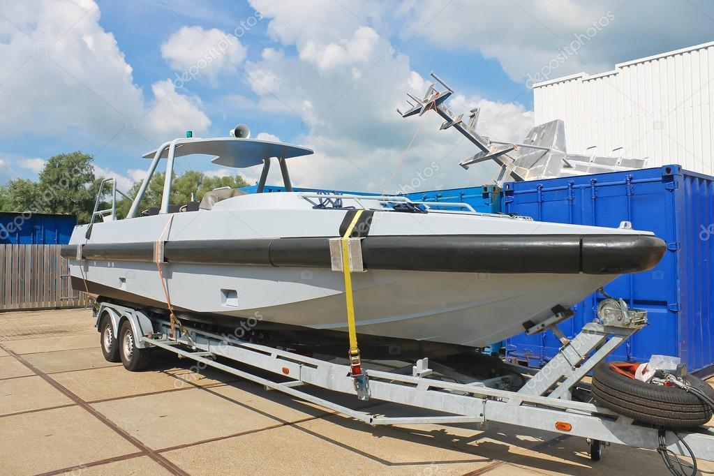 New boat on a trailer in a Dutch shipyard. Netherlands