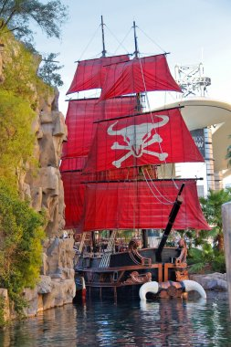 Pirate ship at pond near Treasure Island hotel in Las Vegas.