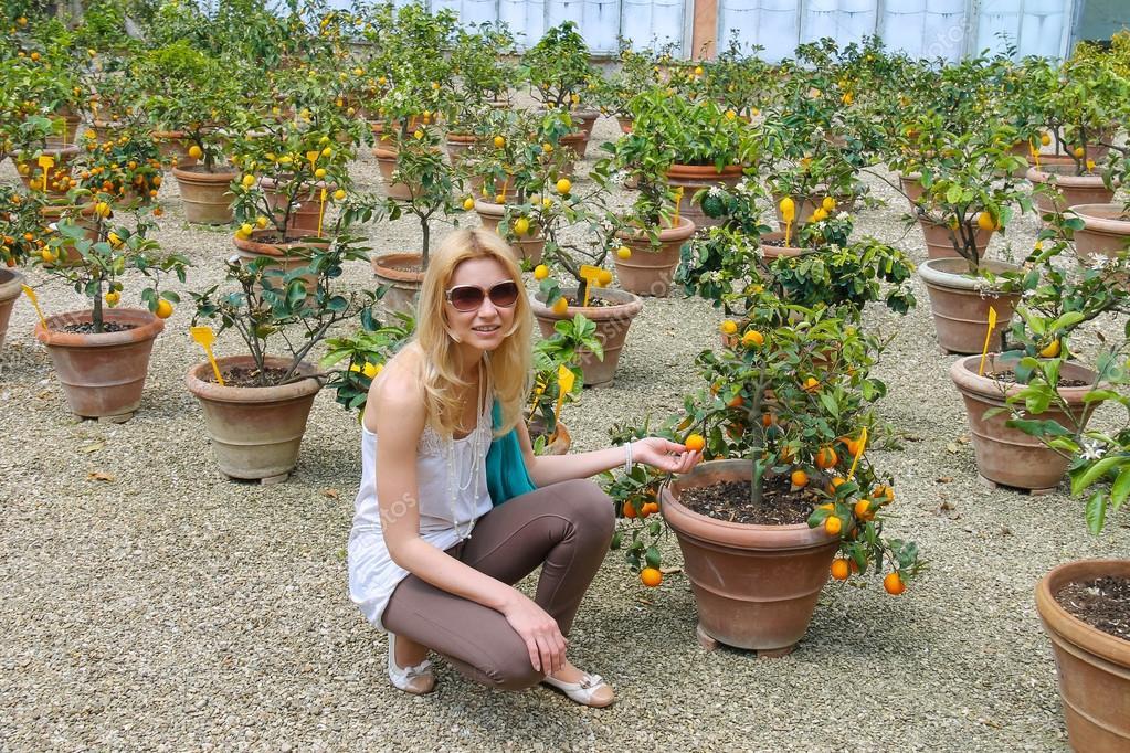 Ragazza vicino alle piante in vaso in vivaio di agrumi for Acquistare piante di agrumi