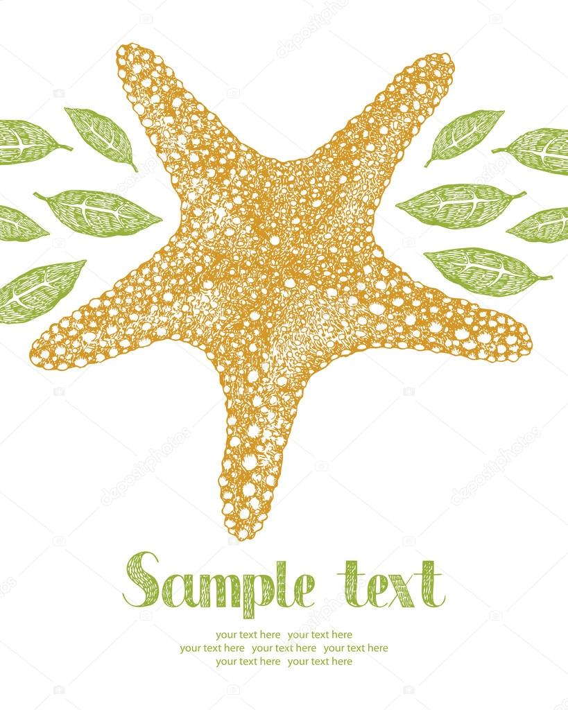 Starfish and leaves card