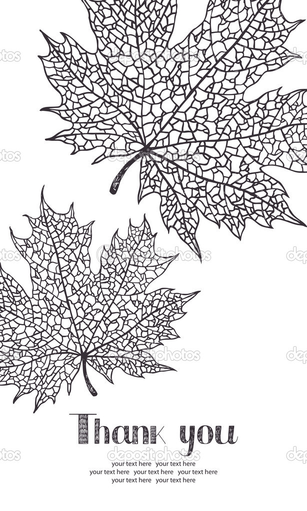 Thank you card with maple leaves