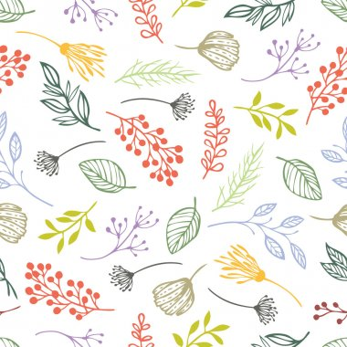 Forest herbs seamless background