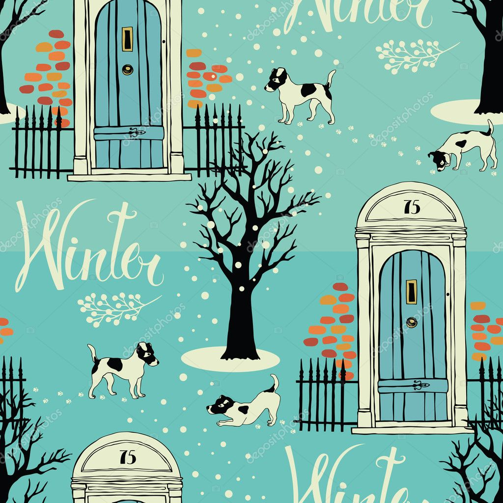 Doors, dogs, snow and winter trees. Seamless background