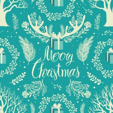 Merry Christmas White trees background