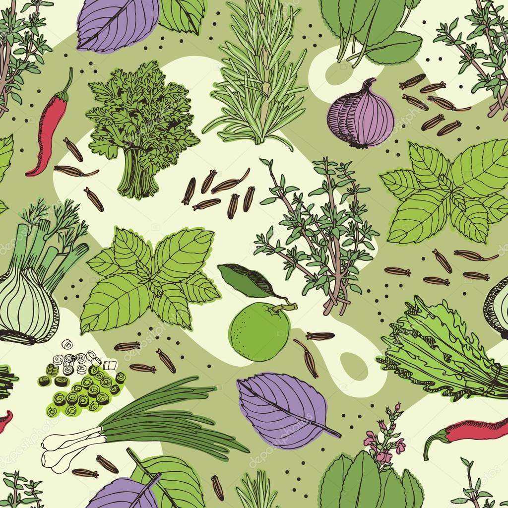 Herbs and spice seamless pattern