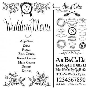 Wedding menu, font set and design elements set