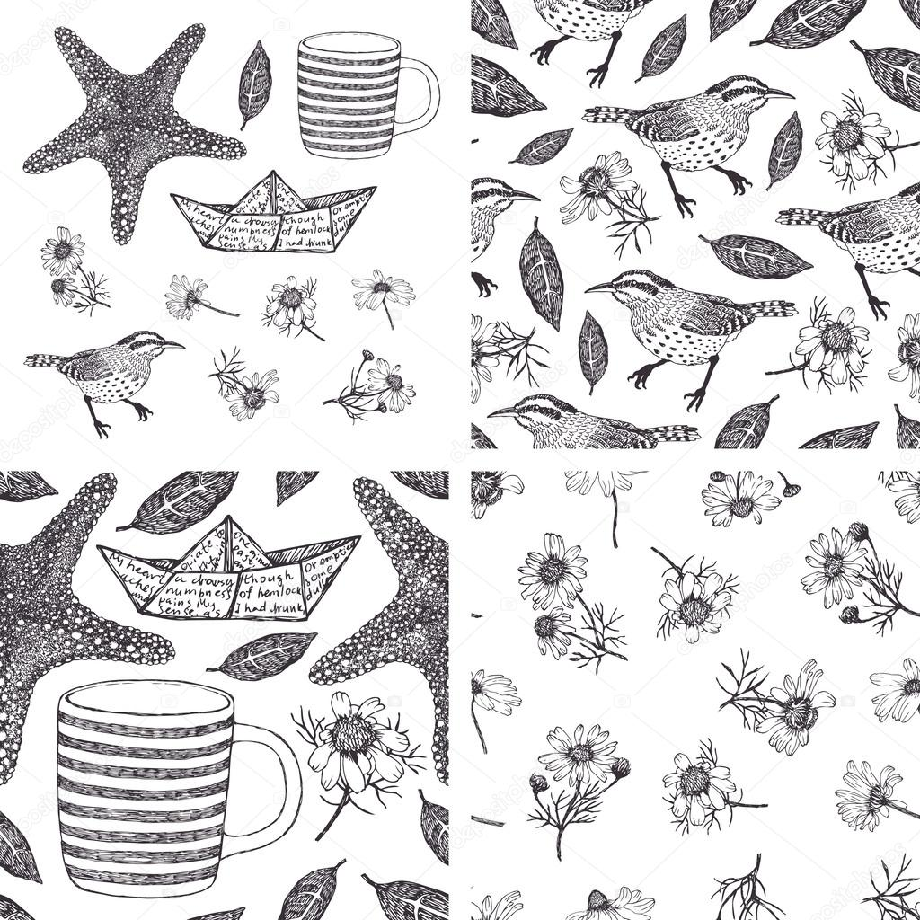 Set of hand-drawn design elements and patterns with camomiles, b
