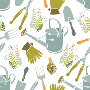 Spring background, gardening tools and snails