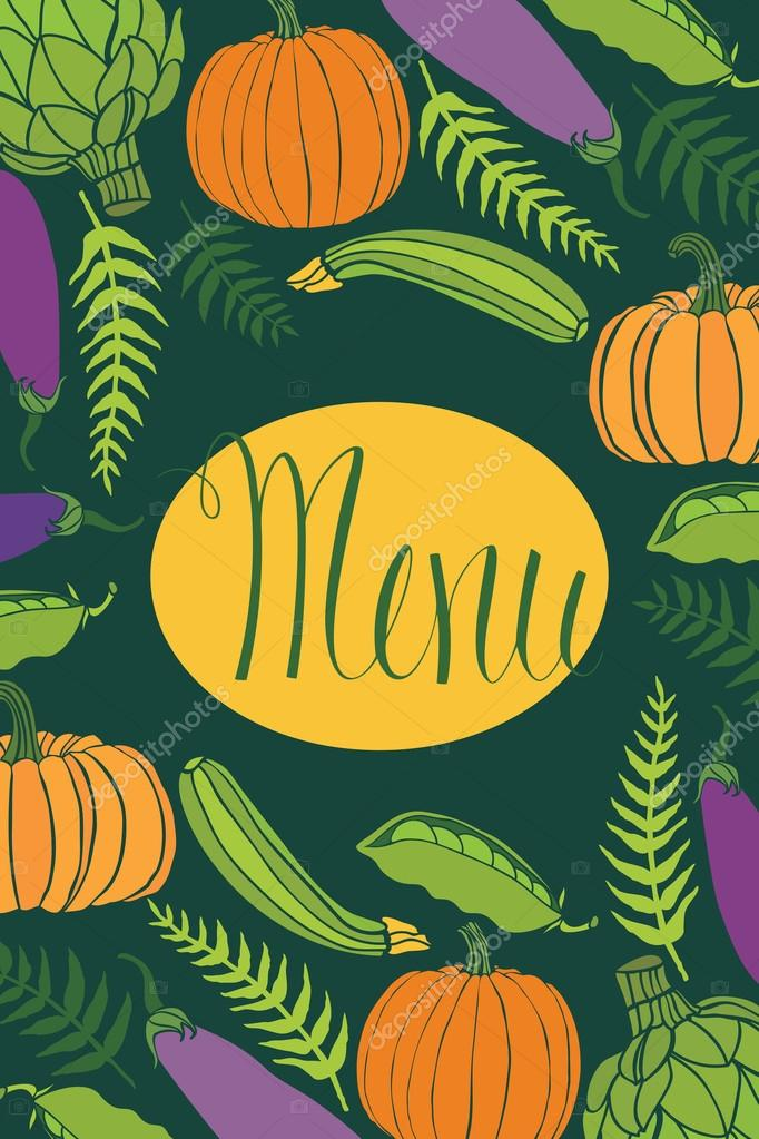 Cover for menu, vegetables on a dark background
