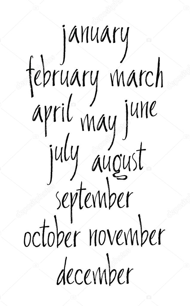 handwritten calligraphy months of year written with a brush stock vector