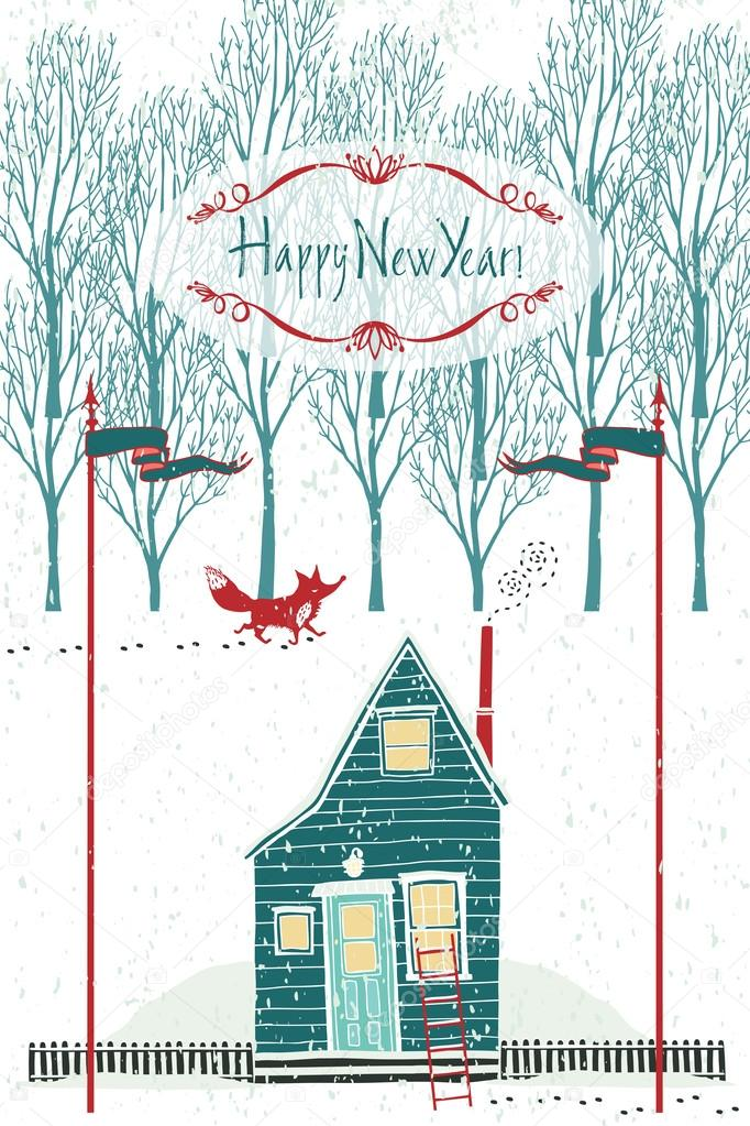 Happy New year design card with a house in the winter forest