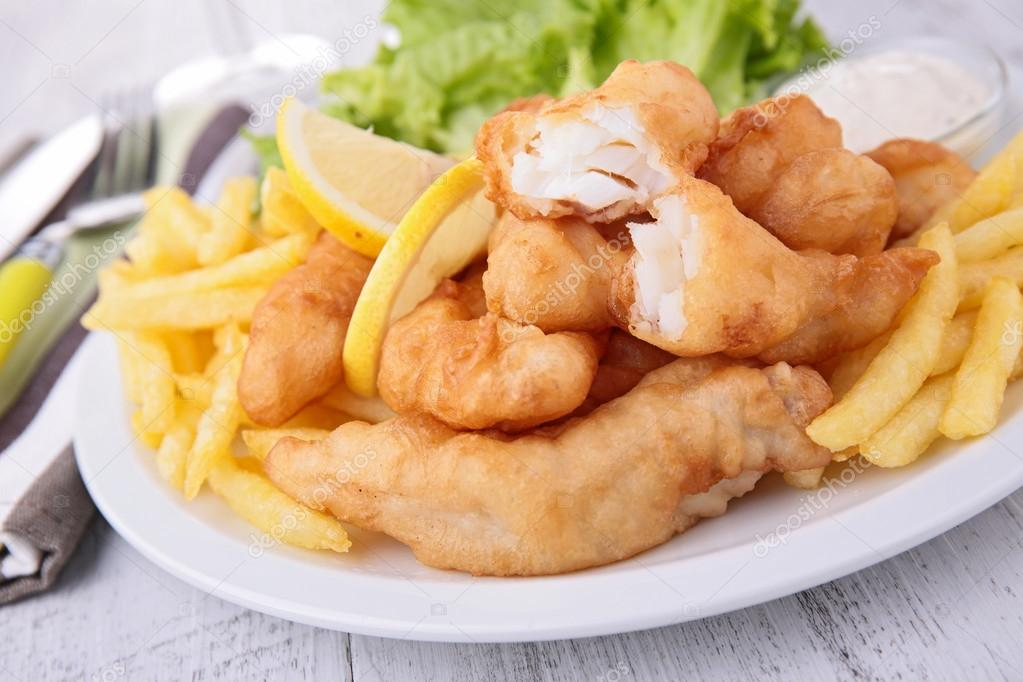 Salat zu fisch chips