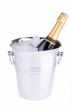 Champagne bottle in bucket stock vector