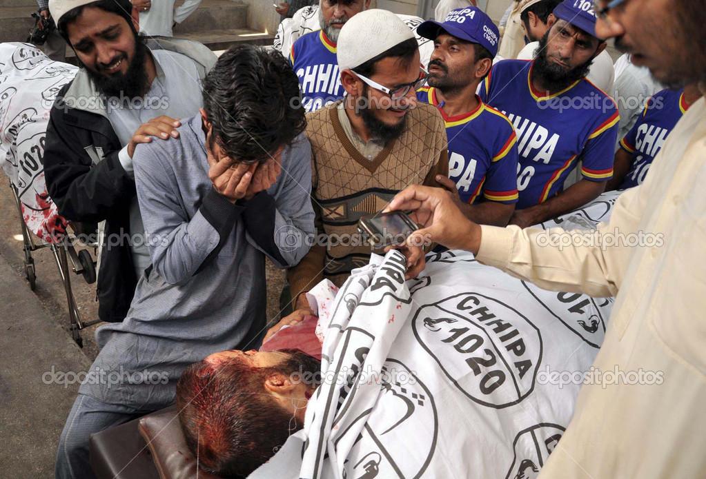 Gather near dead body of three seminary teachers, Mufti Hameed Deenpuri, Mufti Saleh and Mufti Hasan who assassinated by unidentified gunmen at ...