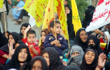 Relatives of Shiite Muslim missing youth chant slogans for recovery of their loved ones during protest demonstration