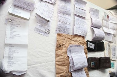 Secret documents that seized by police after intelligence based targeted raid in Drigh Road, kept to show media persons during a press conference