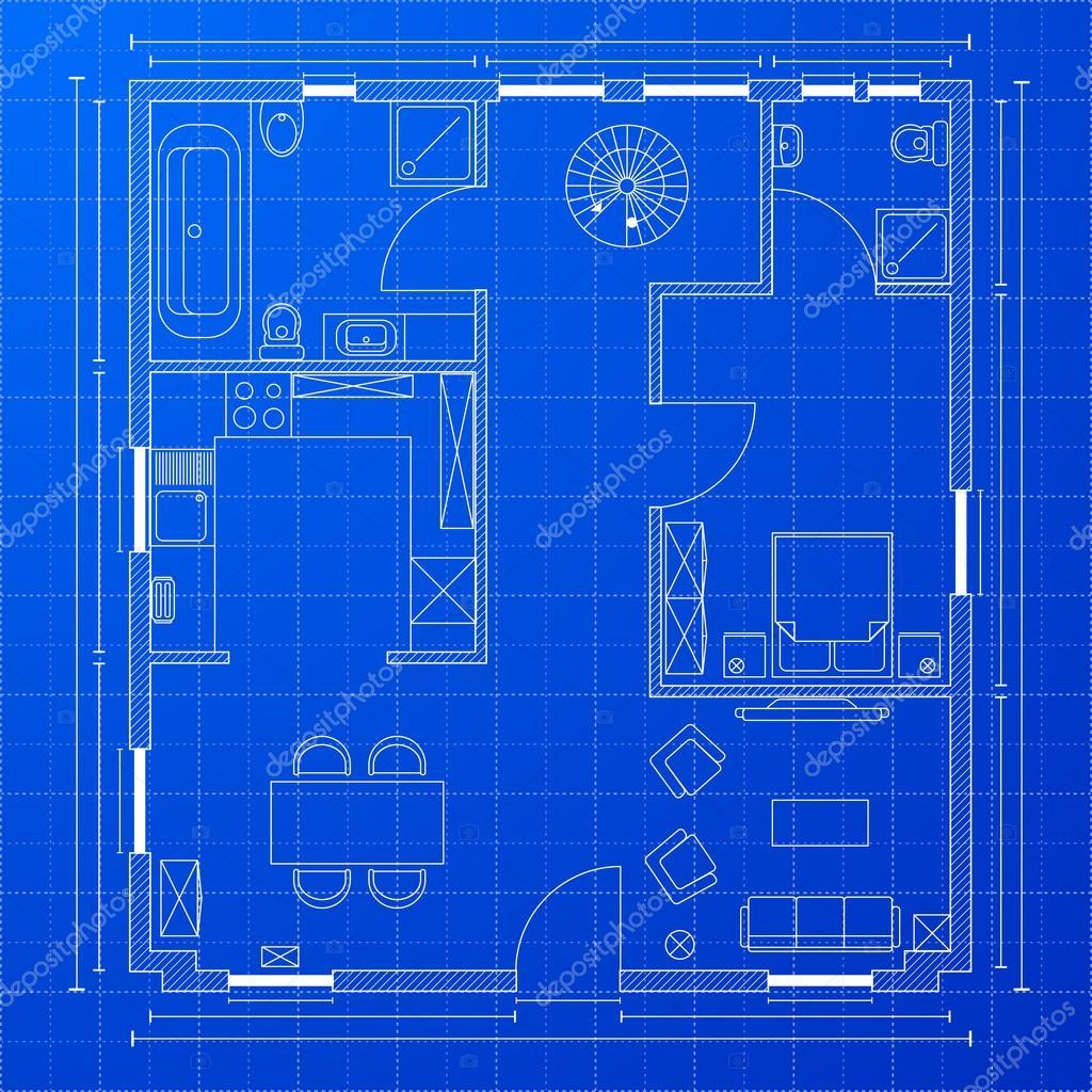 Blueprint floorplan stock illustration