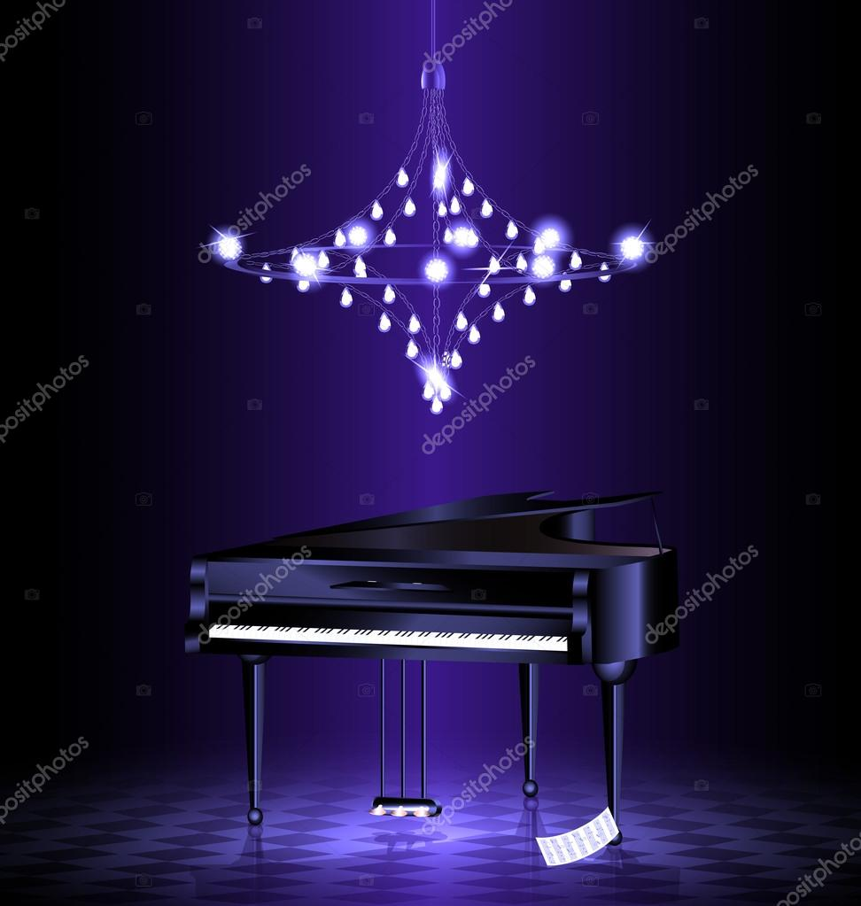 piano en el cuarto oscuro — Archivo Imágenes Vectoriales ...