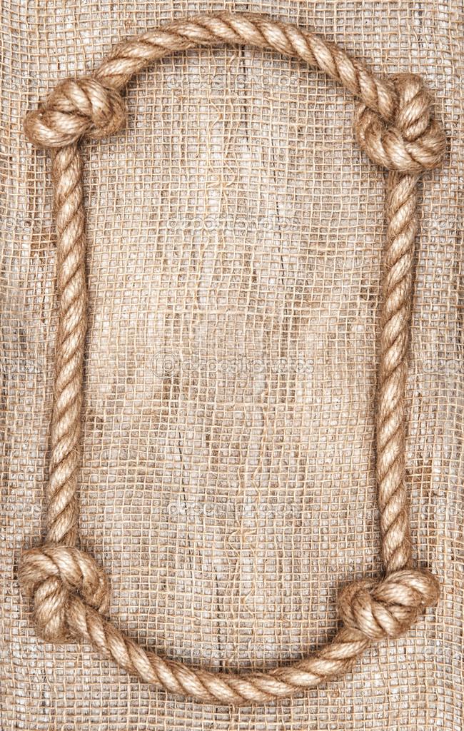 Fondo de marco y arpillera de cuerda — Fotos de Stock © DarkBird ...